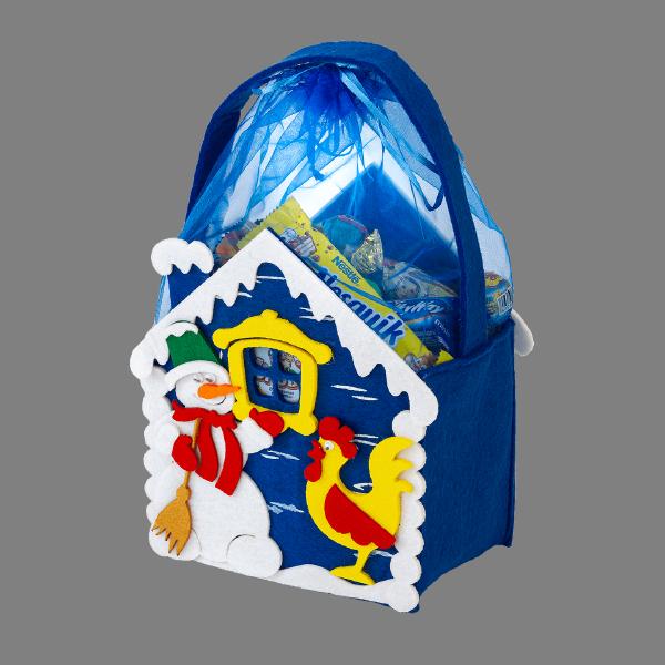 Новогодний подарок Домик Снеговика стоимостью 450 руб. и весом 500 гр.