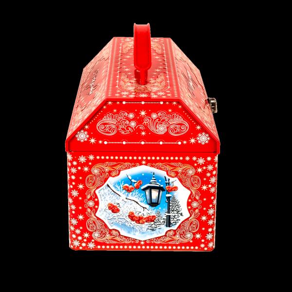 Новогодний подарок Ларец Снегири стоимостью 1300 руб. и весом 1000 гр.