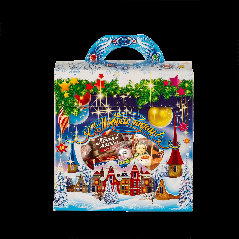 Новогодний подарок Снежный город стоимостью 200 руб. и весом 450 гр.